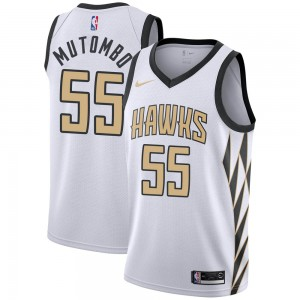 Nike Atlanta Hawks Swingman White Dikembe Mutombo 2018/19 Jersey - City Edition - Men's